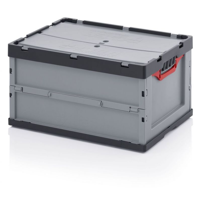 Folding Box with lid 600x400x320 grey for Y small - robust!