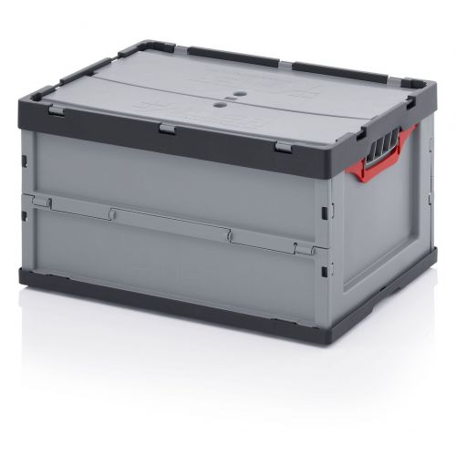 Folding Box with lid 600x800x455 grey for Y large - robust!