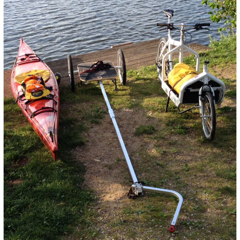 Looong Arm - 3 m Towbar extension, carries Kayaks or Bikes up to 6 m long, can be cut down to size as needed.