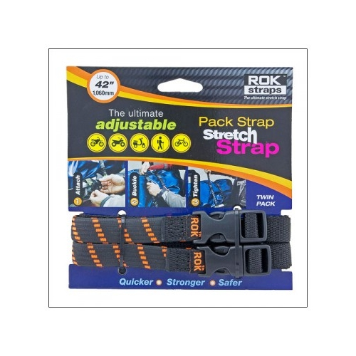 Stretch Strap 16 mm, L 310 mm x1060 mm, black with orange stripes